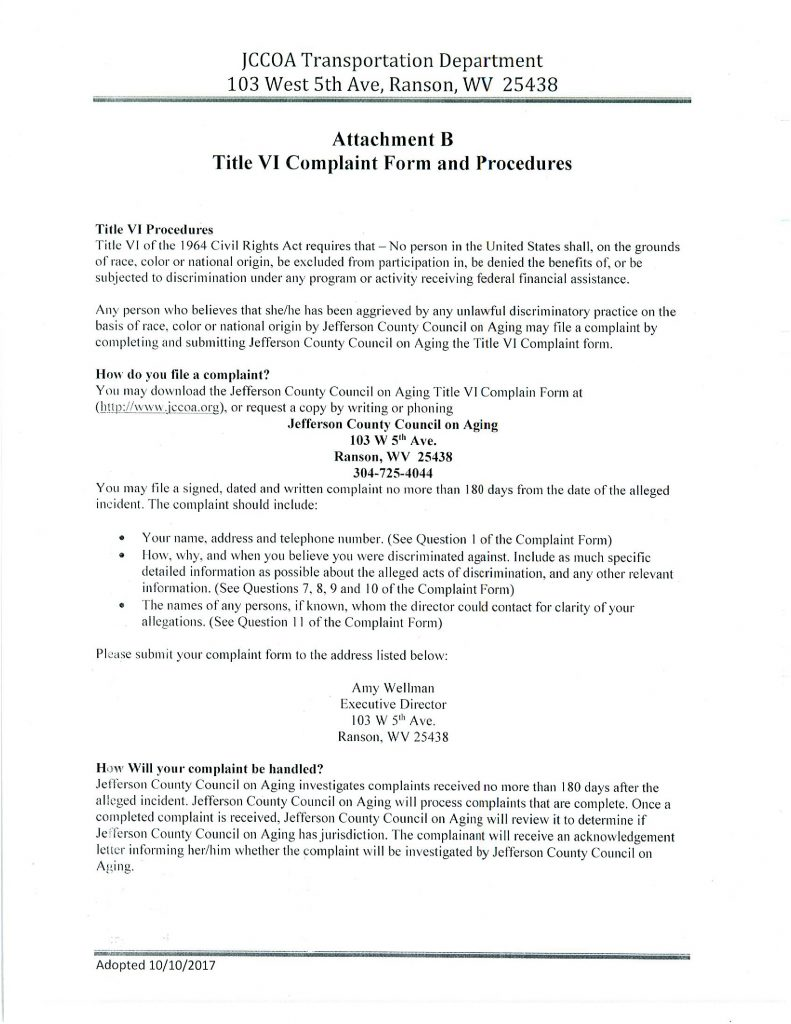 COMPLAINT FORM AND PROCEDURES(Page 1)