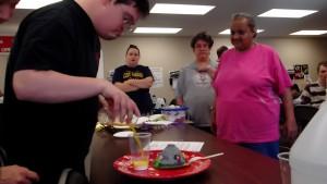 Matt creating our volcanic eruption