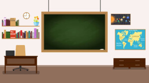 Classroom. Nobody school classroom interior with teachers desk and blackboard. Front Class Background Design.